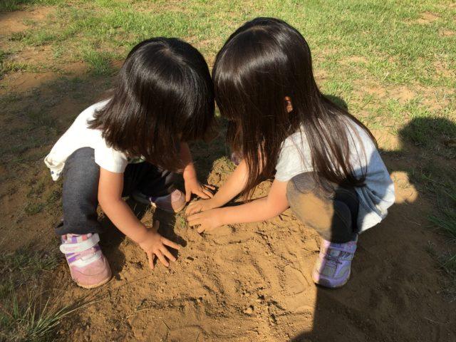 砂遊びをする姉妹