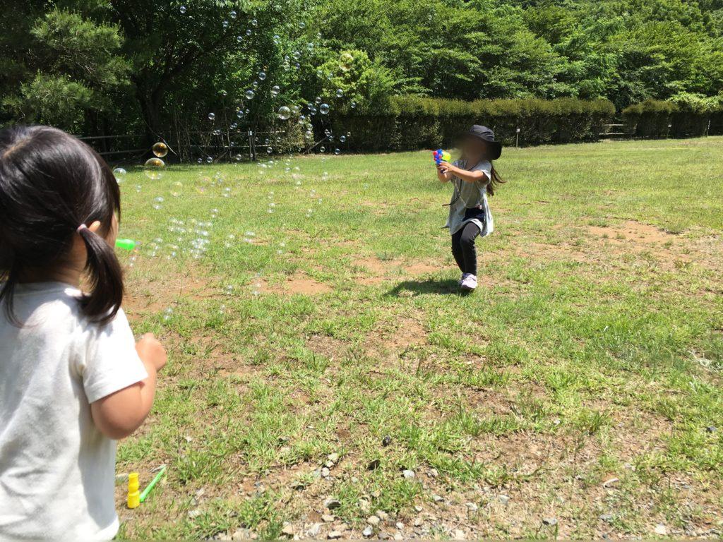 シャボン玉&水鉄砲!