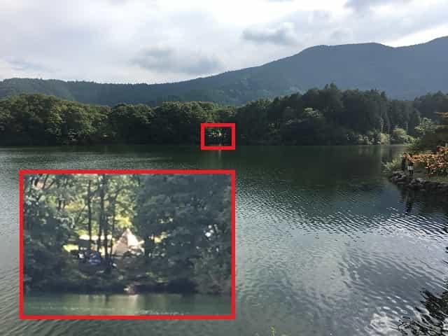 田貫湖キャンプ場 対岸から見たCサイト