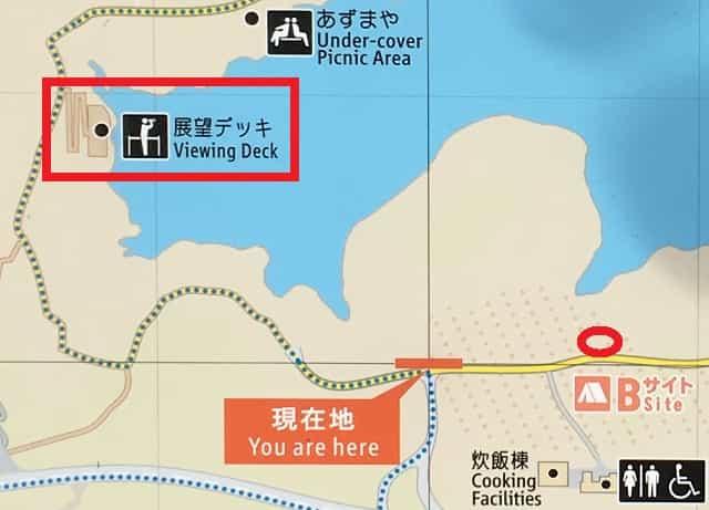 田貫湖キャンプ場 テントから展望デッキまでの道のり