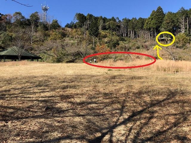 野田山健康緑地公園キャンプ場 四阿の下