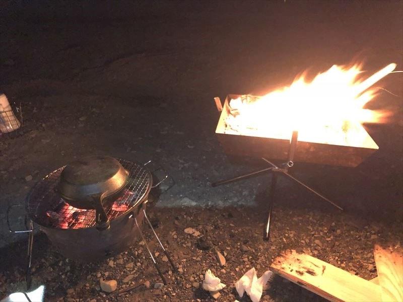 洪庵キャンプ場にて 焚き火と焼肉
