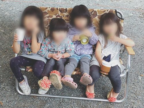 キャプテンスタッグ キャンプアウト ベンチ カモフラージュ 子ども4人
