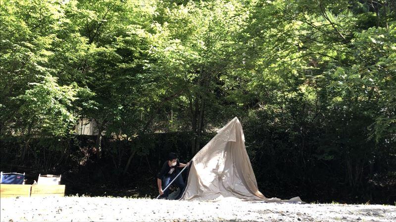 道志の森キャンプ場 設営の様子