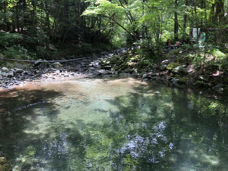 道志の森キャンプ場 エメラルドグリーンの川01