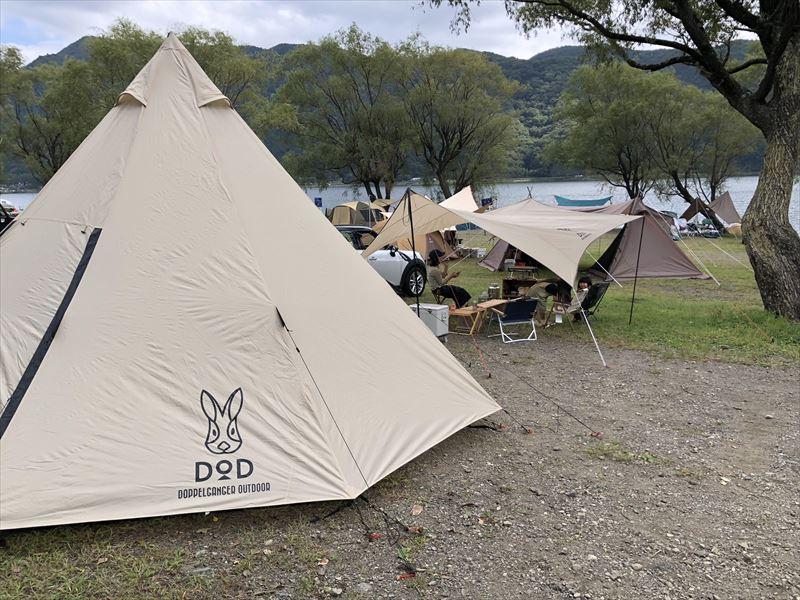 西湖自由キャンプ場とビッグワンポールテント