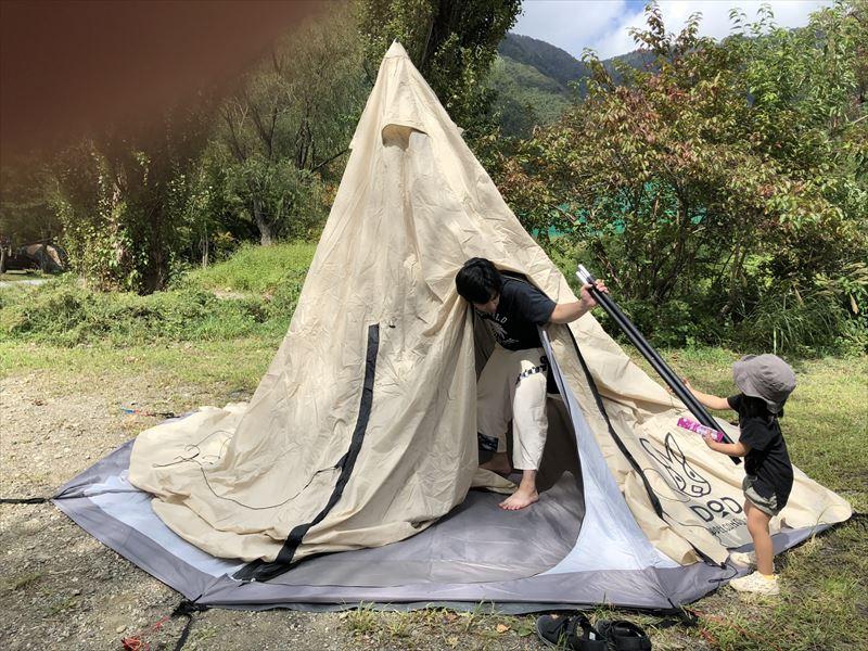 DOD ビッグワンポールテント+フタマタノキワミ 4本残してテントを立てる