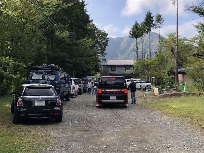 西湖自由キャンプ場 場外駐車場 入場待ち