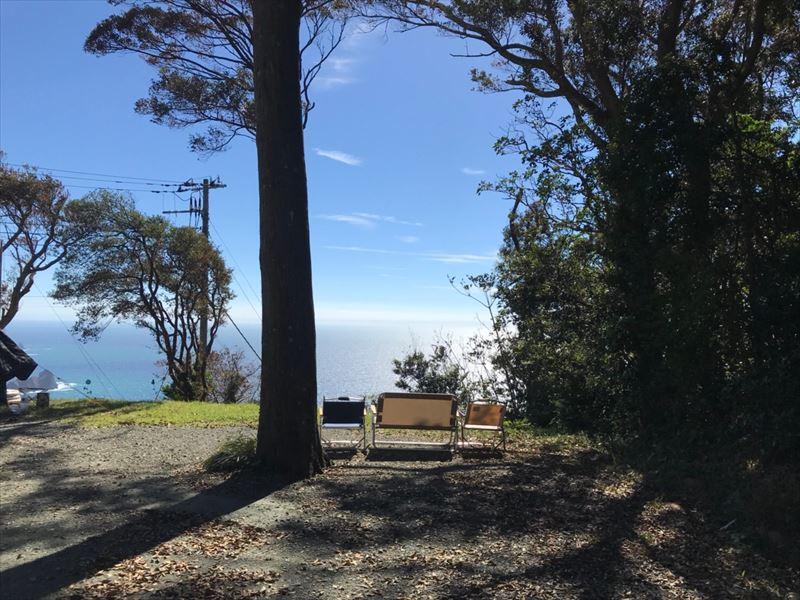 南伊豆 夕日ヶ丘キャンプ場 D-1サイト 真ん中に木