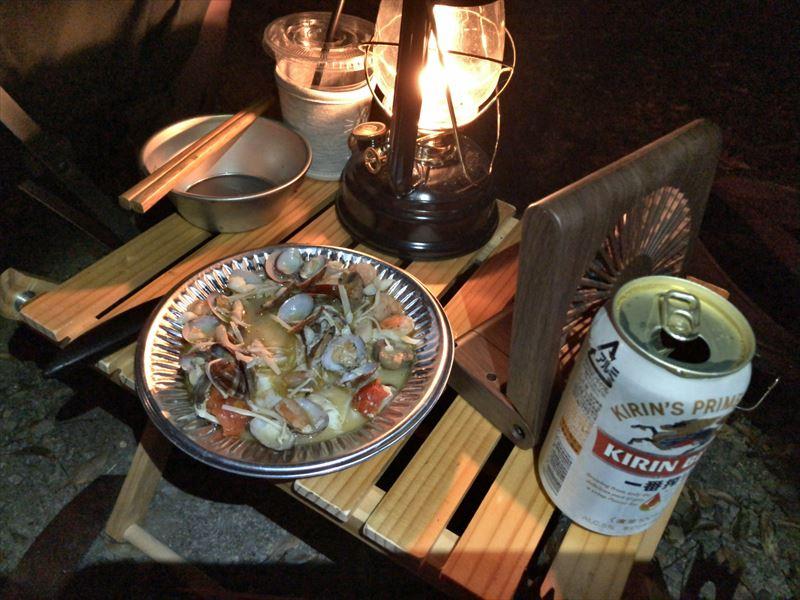 南伊豆 夕日ヶ丘キャンプ場 お隣さんからいただいた海鮮アクアパッツァ
