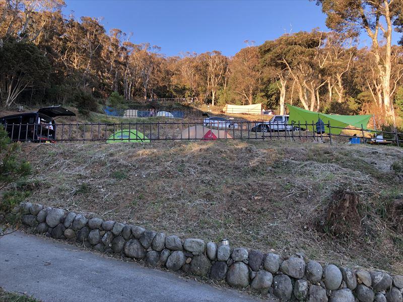 南伊豆 夕日ヶ丘キャンプ場 Gサイトを下から撮影