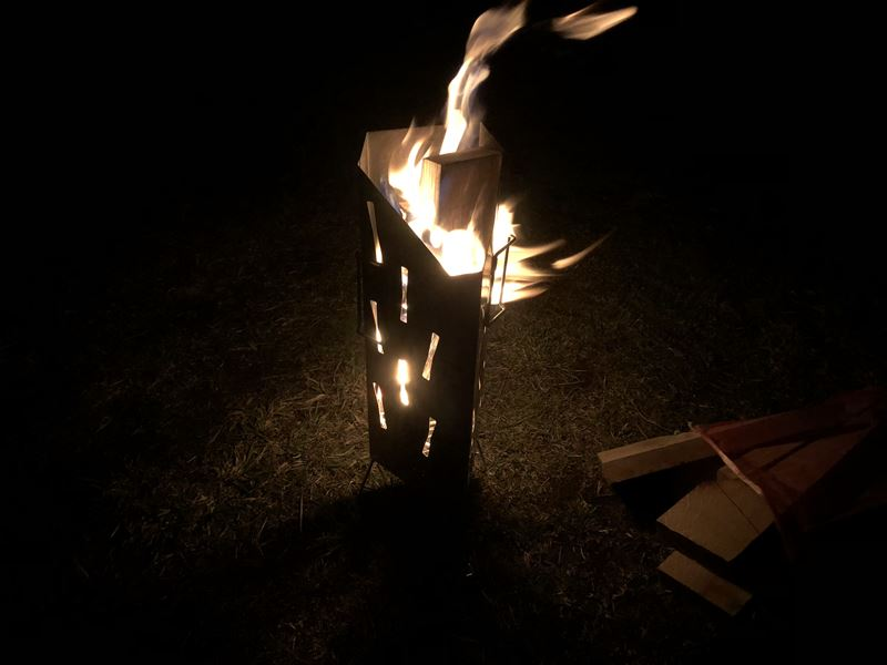 ふもとっぱら ユニフレーム UFファイアポットで焚き火 01