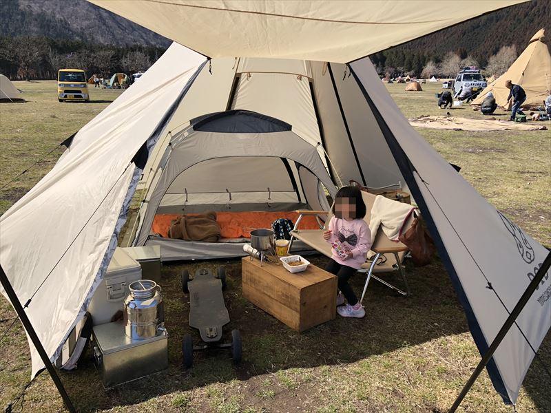 ふもとっぱら カンガルースタイルで幕内キャンプ