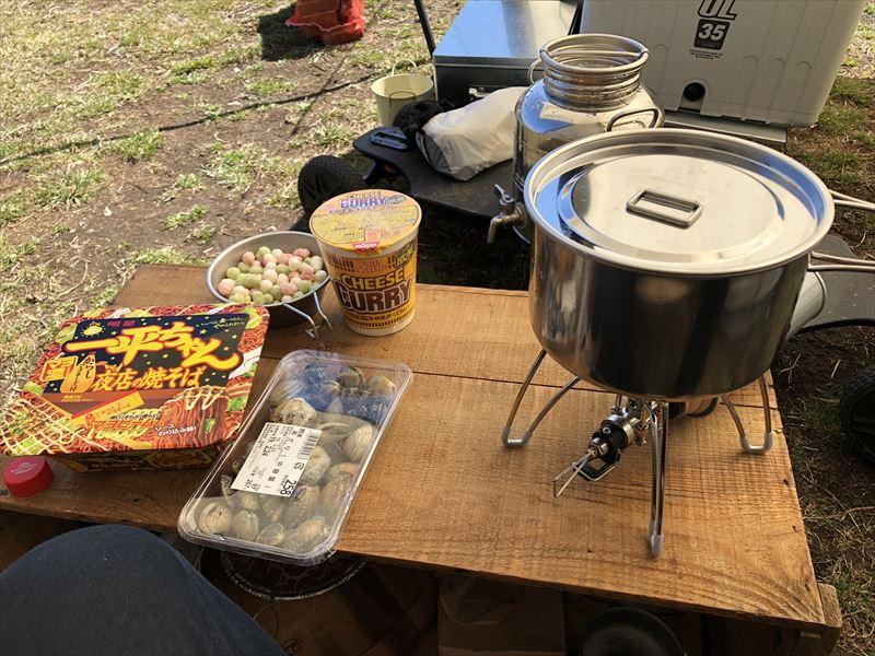 ふもとっぱら お昼ご飯はカップ麺