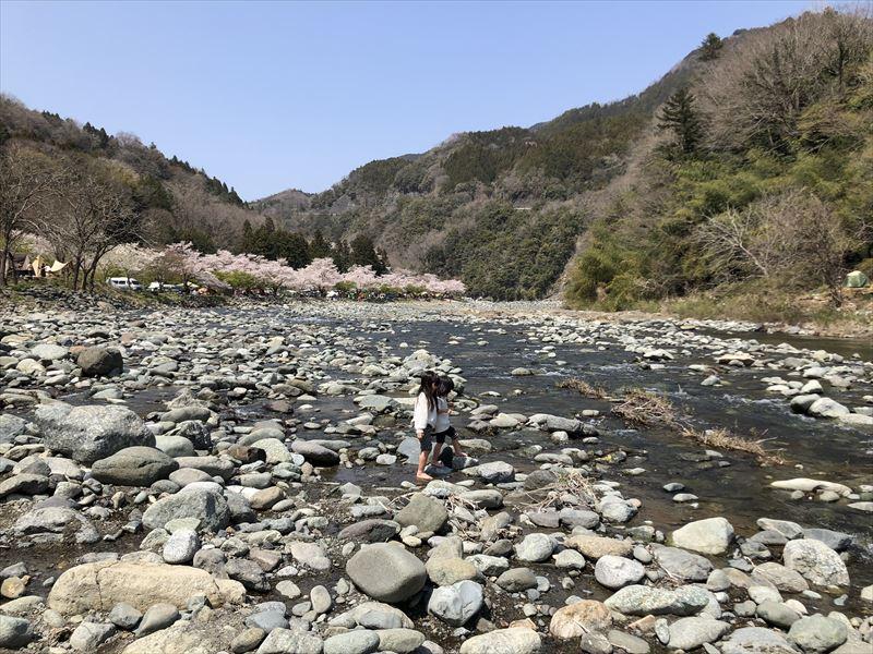青野原オートキャンプ場 道志川で水遊び 02