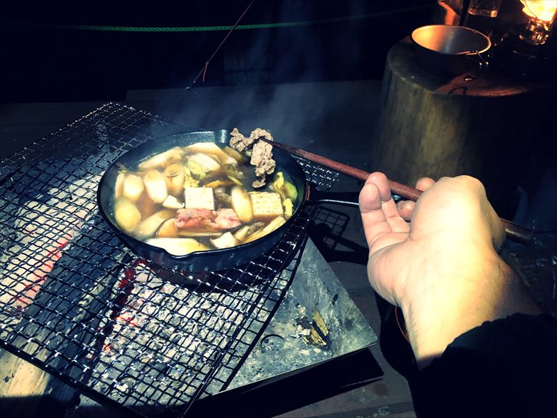 炭焼の杜 明ケ島キャンプ場 すき焼き