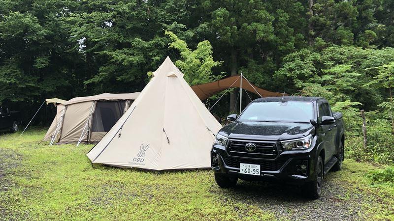 道志の森キャンプ場 ハイラックス&ビッグワンポールテント