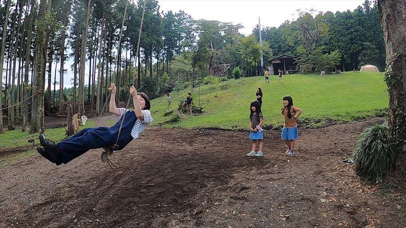 長田山荘キャンプ場 ハイジブランコ