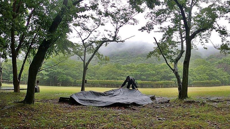 沼津市 市民の森で雨キャンプ 03