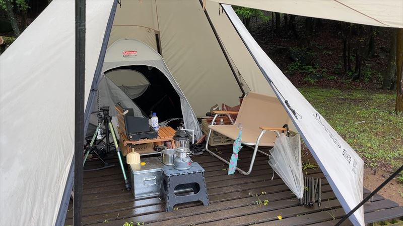 沼津市 市民の森で雨キャンプ 14